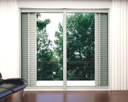 Windows or patio doors with into wall cavity